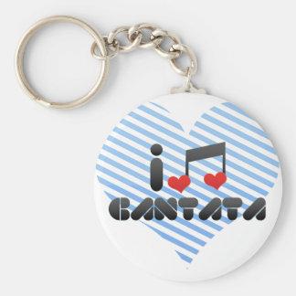 I Love Cantata Basic Round Button Keychain