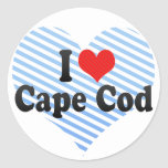 I Love Cape Cod Round Sticker