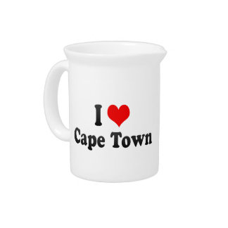 I Love Cape Town, South Africa Beverage Pitchers