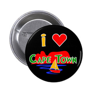I Love Cape Town Table Mountain Button Badge Pin