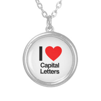 i love capital letters round pendant necklace