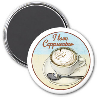 I Love Cappuccino 3 Inch Round Magnet
