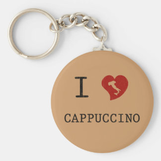 I Love Cappuccino Vintage Basic Round Button Keychain