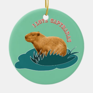 I Love Capybaras Double-Sided Ceramic Round Christmas Ornament