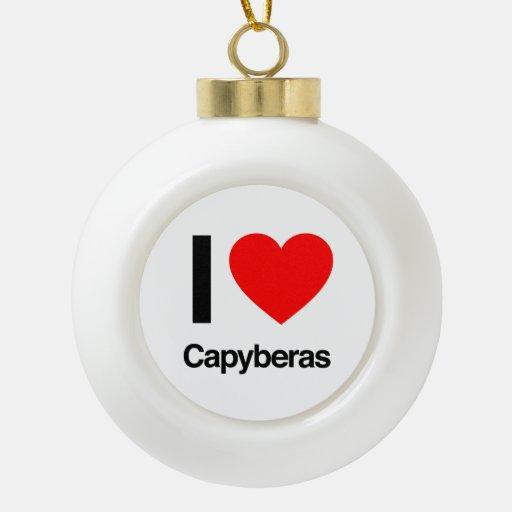 i love capybera ceramic ball christmas ornament