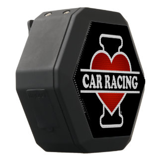 I Love Car Racing Black Bluetooth Speaker
