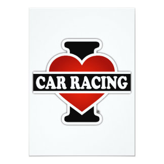 I Love Car Racing Card
