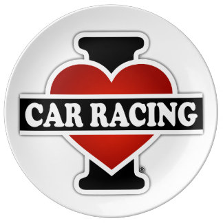 I Love Car Racing Dinner Plate