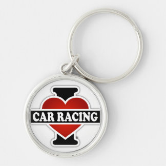 I Love Car Racing Silver-Colored Round Keychain