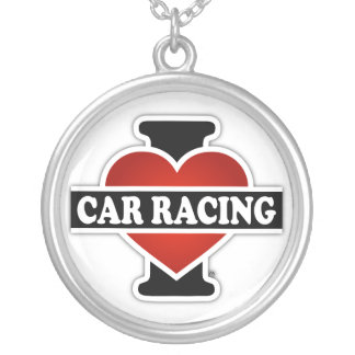 I Love Car Racing Round Pendant Necklace