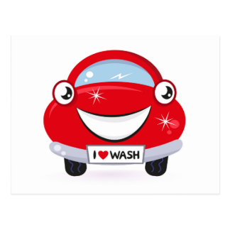 I Love Car Wash Happy Face Postcard