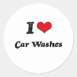 I love Car Washes Round Sticker