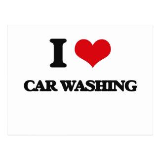 I Love Car Washing Post Card