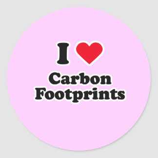I love carbon footprints classic round sticker