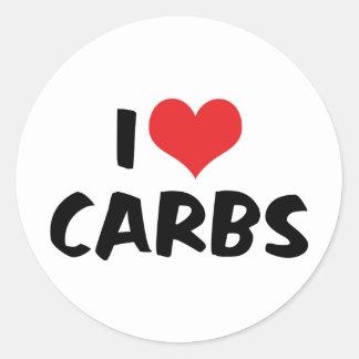 I Love Carbs Classic Round Sticker