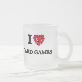 I Love Card Games 10 Oz Frosted Glass Coffee Mug