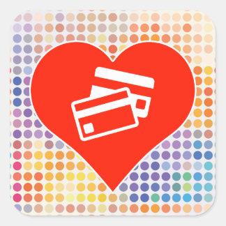 I Love Card Square Sticker