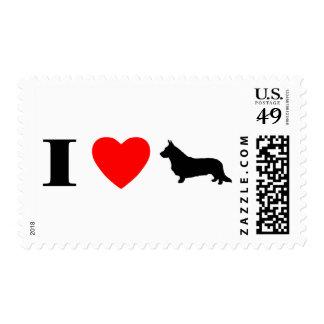 I Love Cardigan Welsh Corgis Stamps