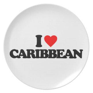 I LOVE CARIBBEAN DINNER PLATE
