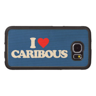 I LOVE CARIBOUS WOOD PHONE CASE