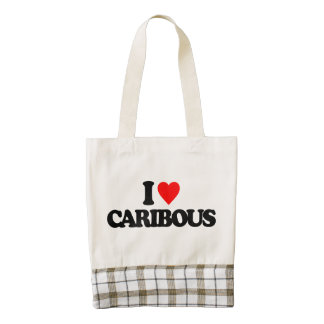 I LOVE CARIBOUS ZAZZLE HEART TOTE BAG