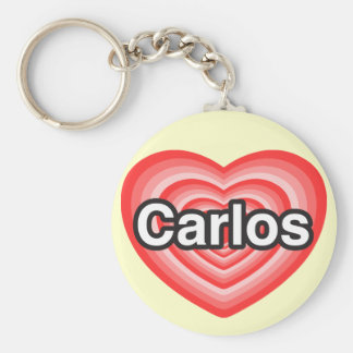 I love Carlos. I love you Carlos. Heart Keychain