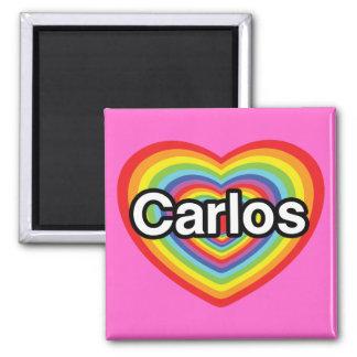 I love Carlos: rainbow heart Magnet