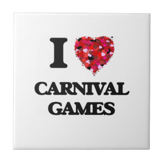 I love Carnival Games Small Square Tile
