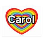 I love Carol: rainbow heart Postcards