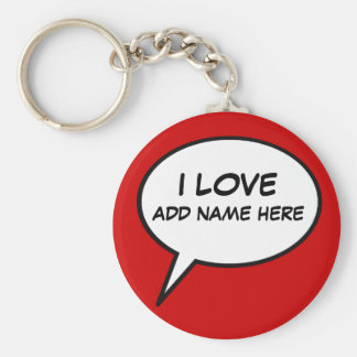 """I love"" cartoon speech bubble Keychain"