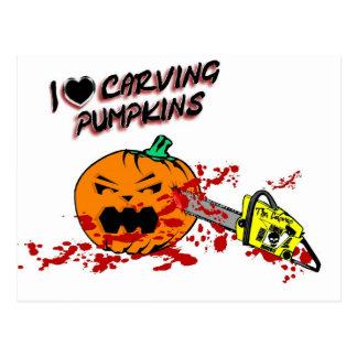 I Love Carving Pumpkins Postcard