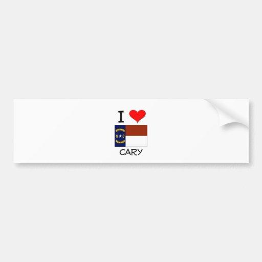 I Love Cary North Carolina Car Bumper Sticker
