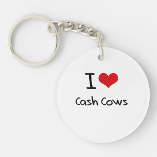 I love Cash Cows Double-Sided Round Acrylic Keychain
