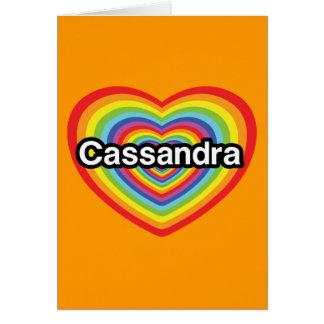 I love Cassandra rainbow heart Card