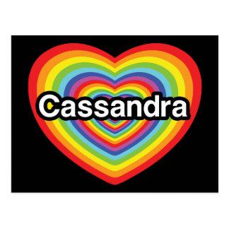 I love Cassandra rainbow heart Postcards