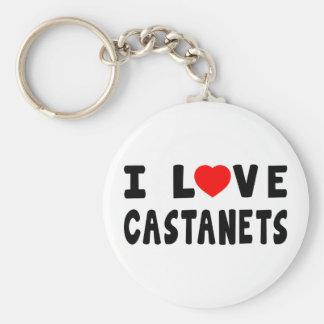 I Love Castanets Keychain