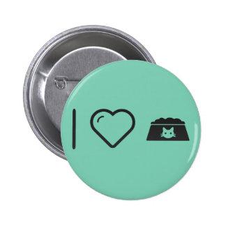 I Love Cat Bowls 2 Inch Round Button