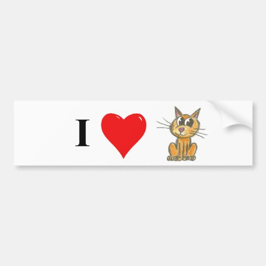 I love cat bumper sticker