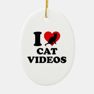 I Love Cat Videos Ceramic Ornament