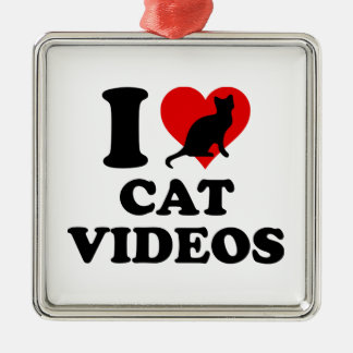I Love Cat Videos Metal Ornament