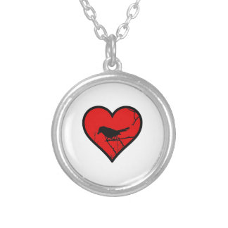 I Love Catbirds, watching Birds Silhouette Heart Round Pendant Necklace