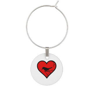 I Love Catbirds, watching Birds Silhouette Heart Wine Charms