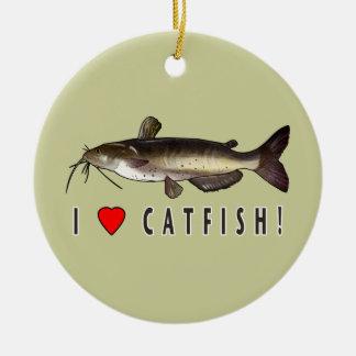 I Love Catfish! Double-Sided Ceramic Round Christmas Ornament