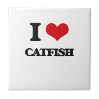 I love Catfish Small Square Tile