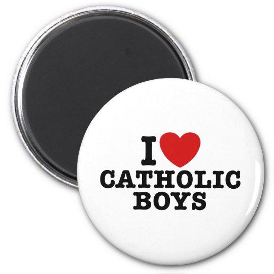 I Love Catholic Boys 2 Inch Round Magnet