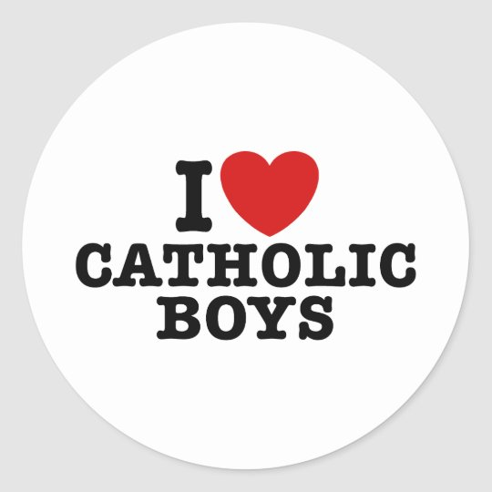I Love Catholic Boys Classic Round Sticker