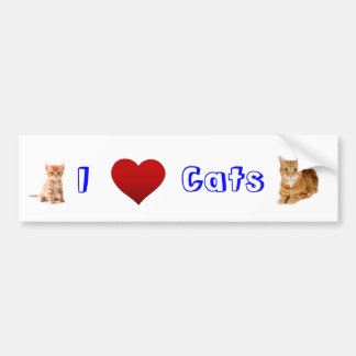 i love cats (2) car bumper sticker