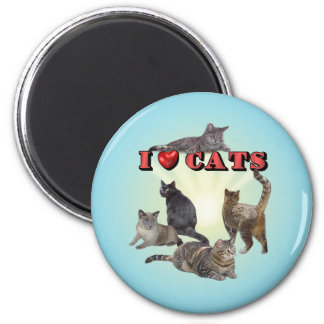 I love Cats 2 Inch Round Magnet