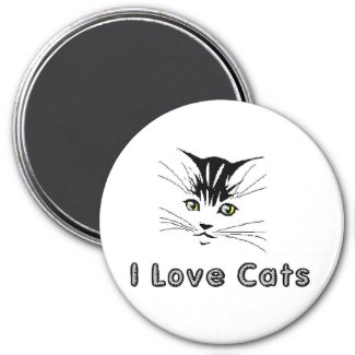 i love cats 5 i love cats 5 kitten with yellow eye magnet