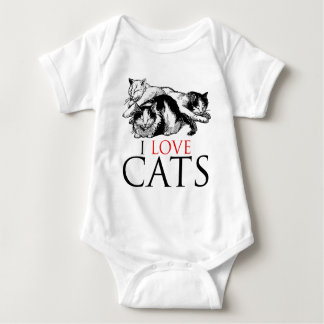 I Love Cats Baby Bodysuit